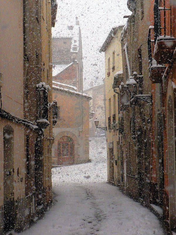 Snowy Day in Barcelona