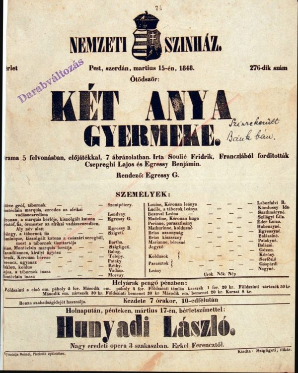"""""""Folytassuk a Bánk bánt, vagy énekeljünk a Hunyadi Lászlóból?""""  – egy rendhagyó nap rendhagyó befejezése: 1848 március idusán"""